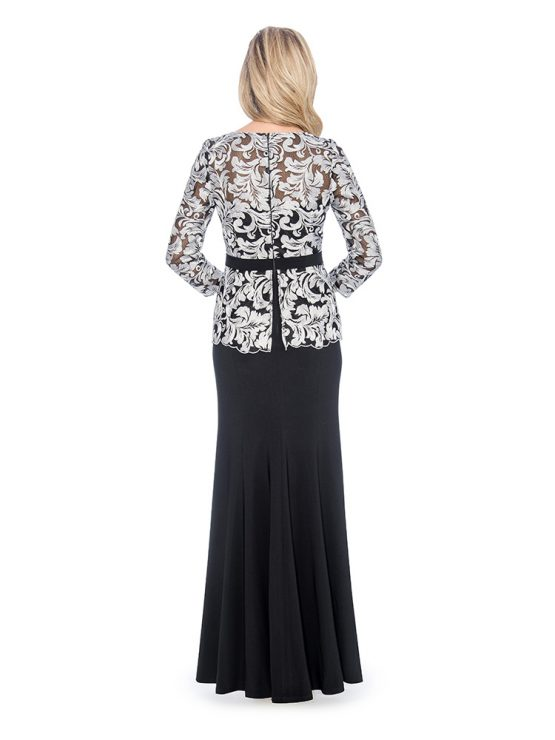 Lace pelum top long gown- mother of bride dress - wedding guest dress - formal evening dress