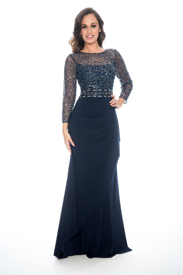 Lace sequin top over lay cascade skirt - formal evening dress - mother of bride dress - plus size dress - wedding guest dress
