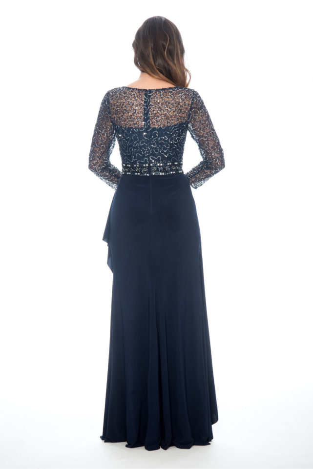 Lace sequin top over lay cascade skirt - formal evening dress - mother of bride dress - plus size dress - wedding guest dress