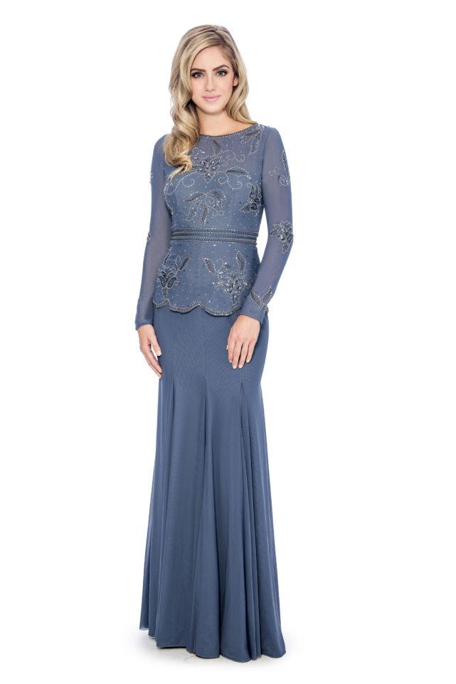 Beaded peplum long godet gown - formal evening dress - mother of bride dress
