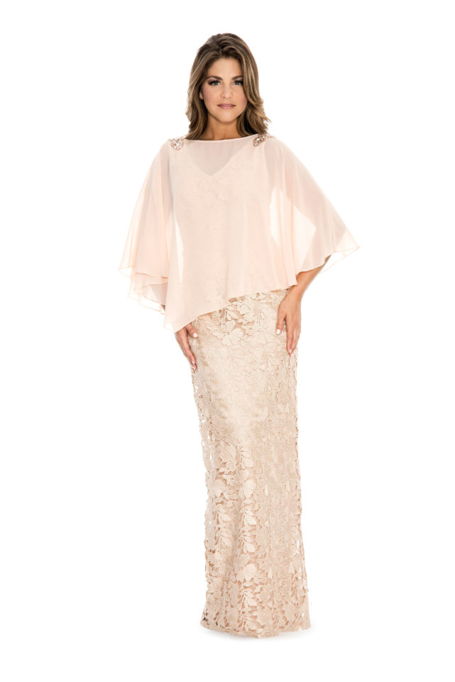 Chiffon cape over lace long gown - mother of bride dress - plus size dress - wedding guest dress