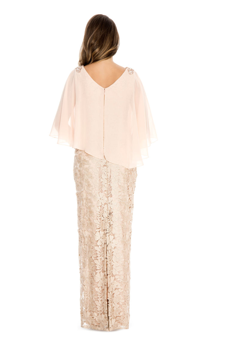Chiffon cape over lace long gown - mother of bride dress - plus size dress - wedding guest dress