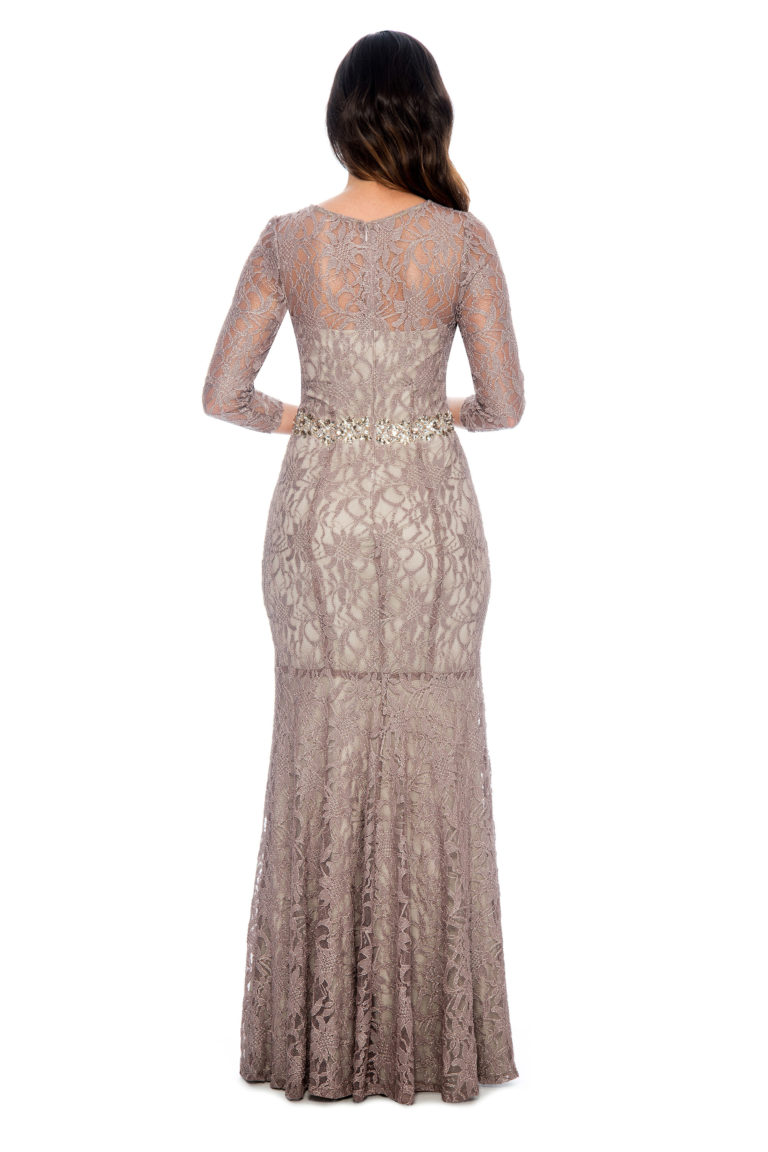 Beaded waist lace long gown - bridesmaid dress - mother of bride dress - wedding guest dress - formal evening dress