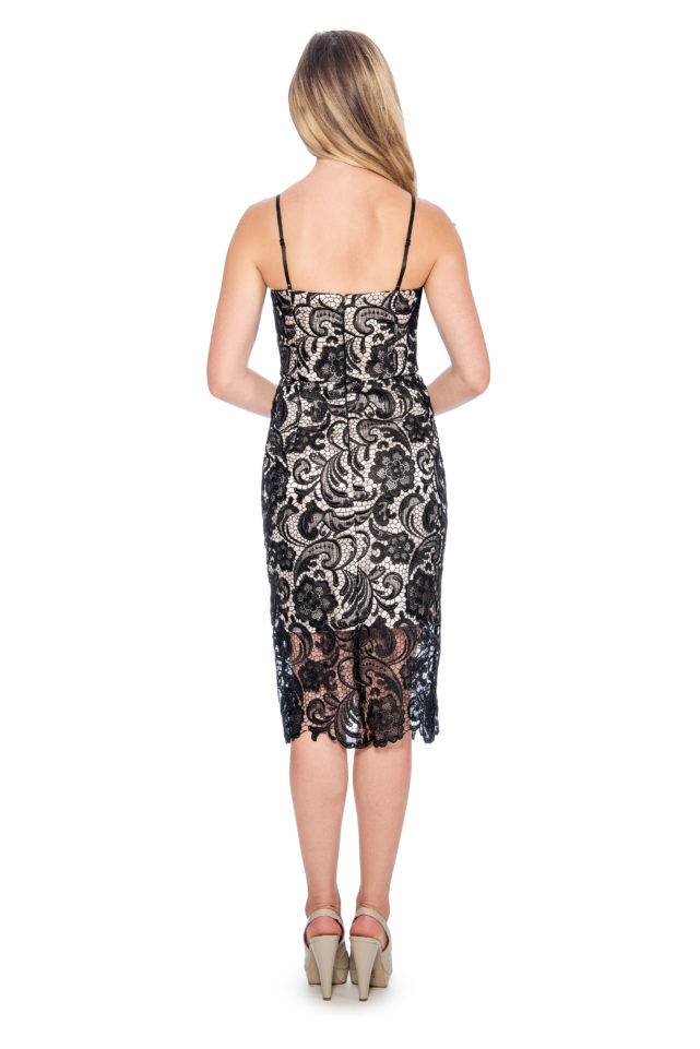 Lace short dress with illusion hem - night out dress - short cocktail dress