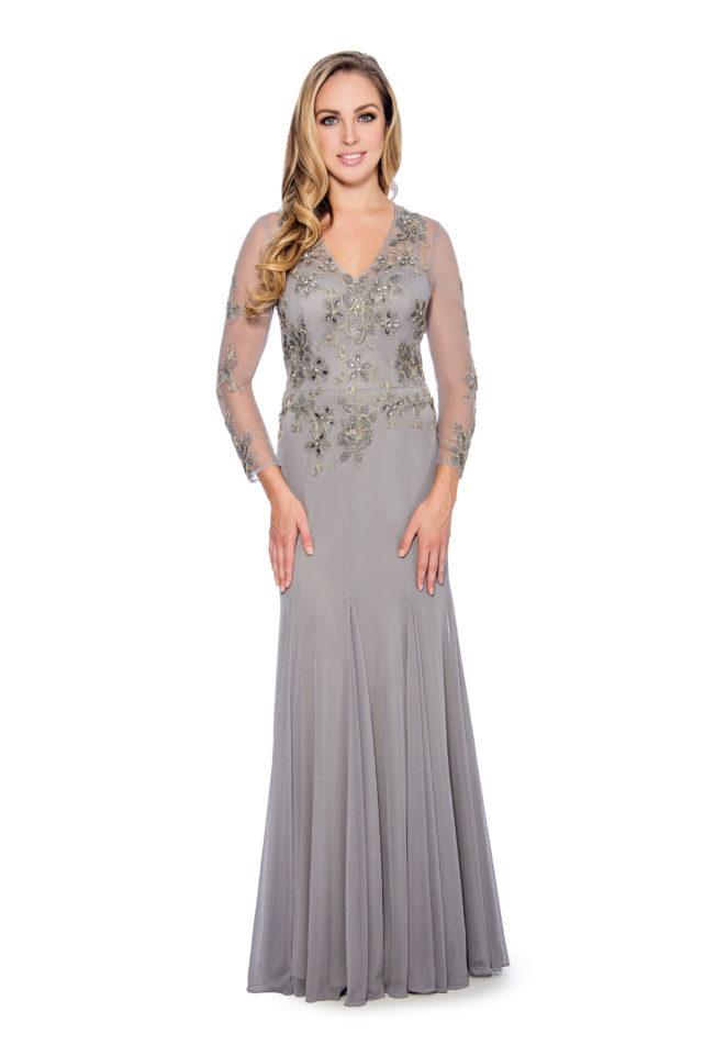 Lace applique godet long gown - formal evening dress - mother of bride dress