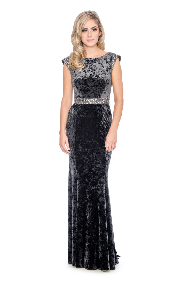 Cowl back velvet long gown-formal evening dress - mother of bride dress