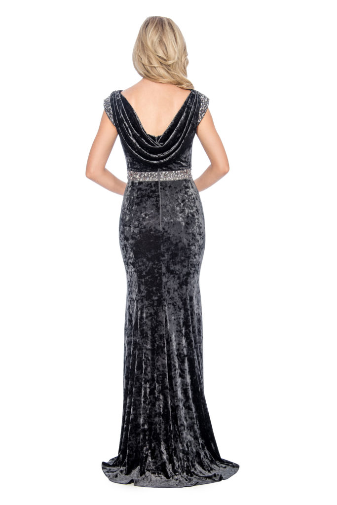Cowl back velvet long gown - formal evening dress - mother of bride dress