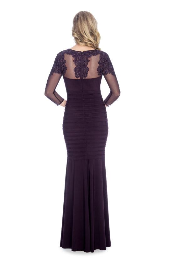Shutter pleat and floral appliqué, long dress.