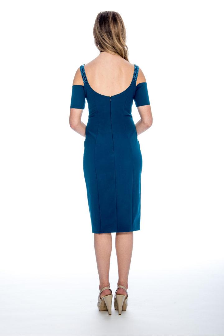 Cold shoulder, beaded strap, and slit, short dress.