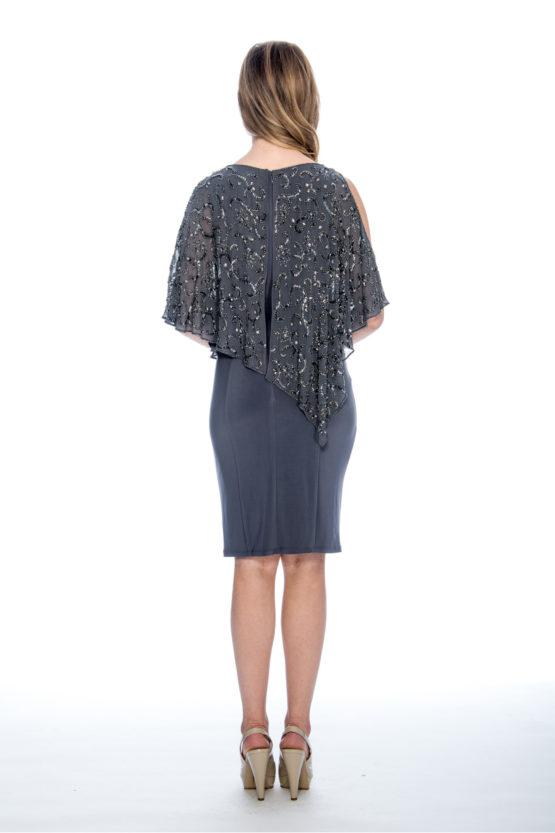 beaded cape, cold shoulder, short dress