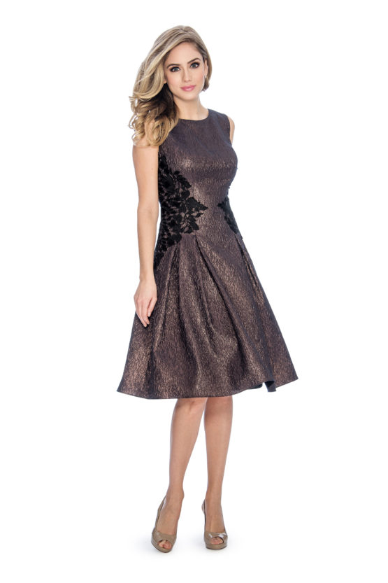 A line, lace applique, metallic, short dress
