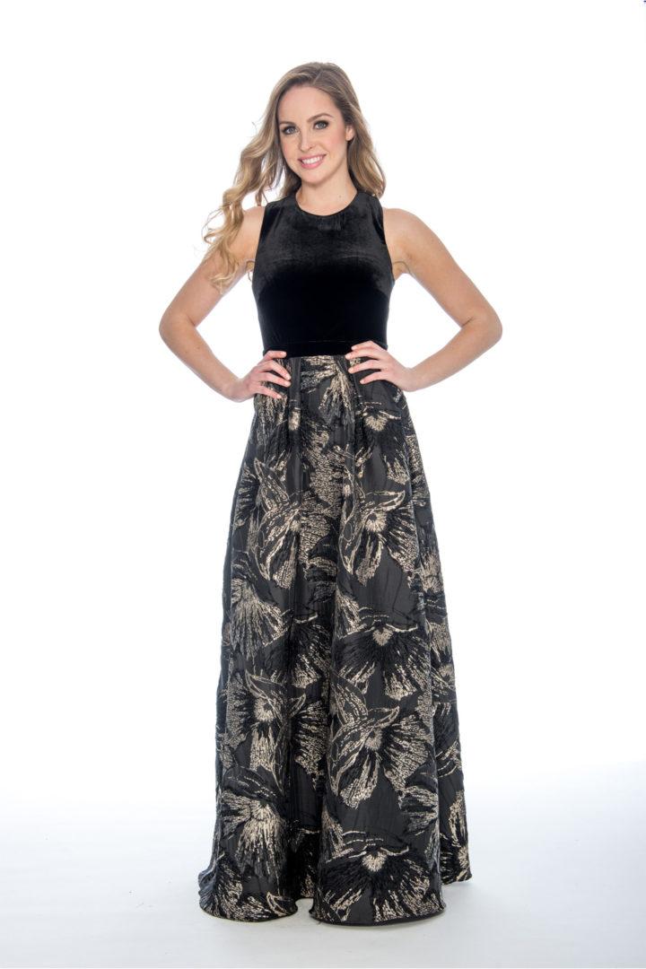 Velvet, printed brocade, ballgown dress
