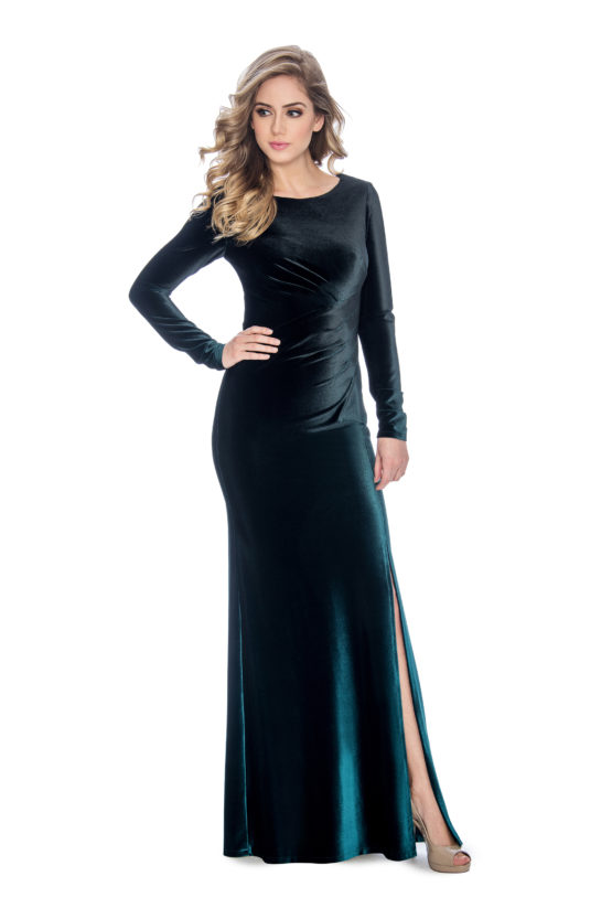 ombre velvet long dress