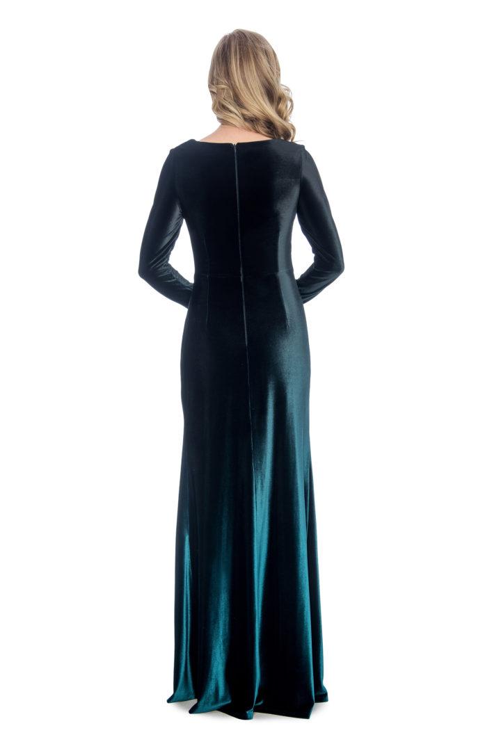 ombre velvet long dress