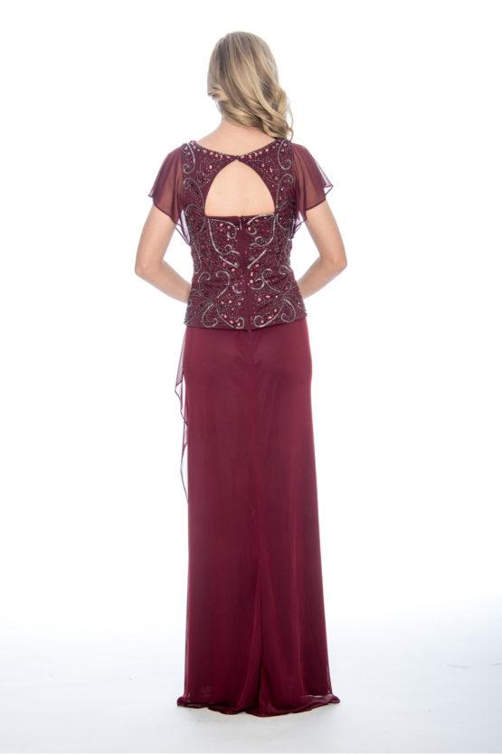faux two-fer, beaded top, long dress