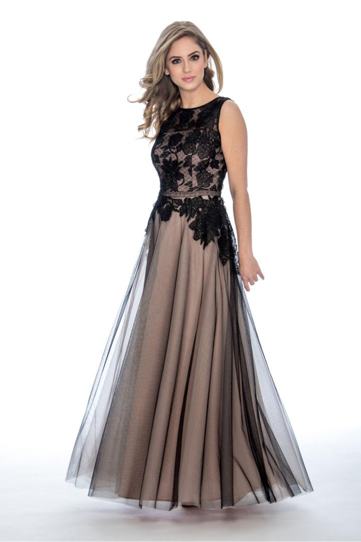 lace top, ballgown, long dress