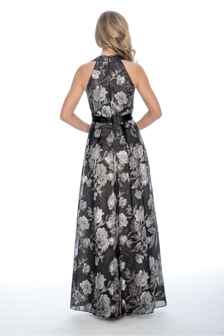 V neck, print, ballgown, long dress