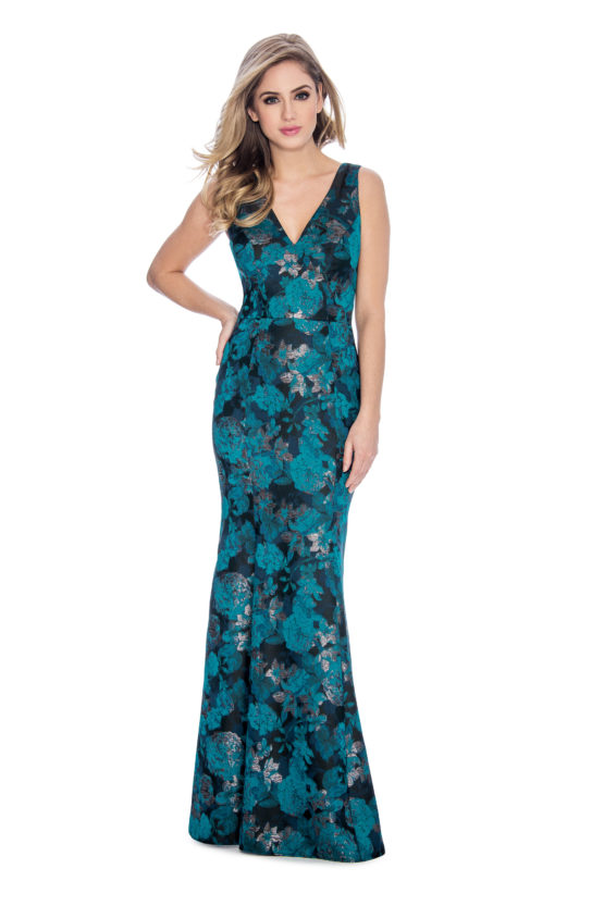 V neck, floral print, mermaid, long dress