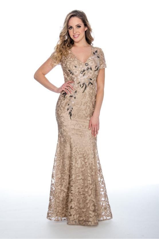 V neck, embroidery, soutache, long dress