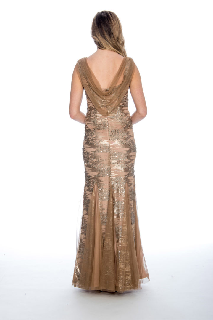 cowl back, sequin, godet, long dress