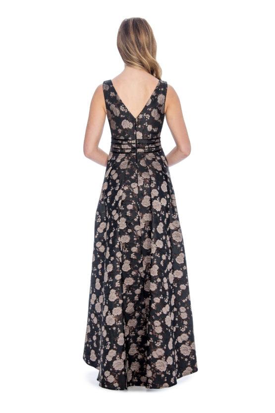 High low, brocade print dress