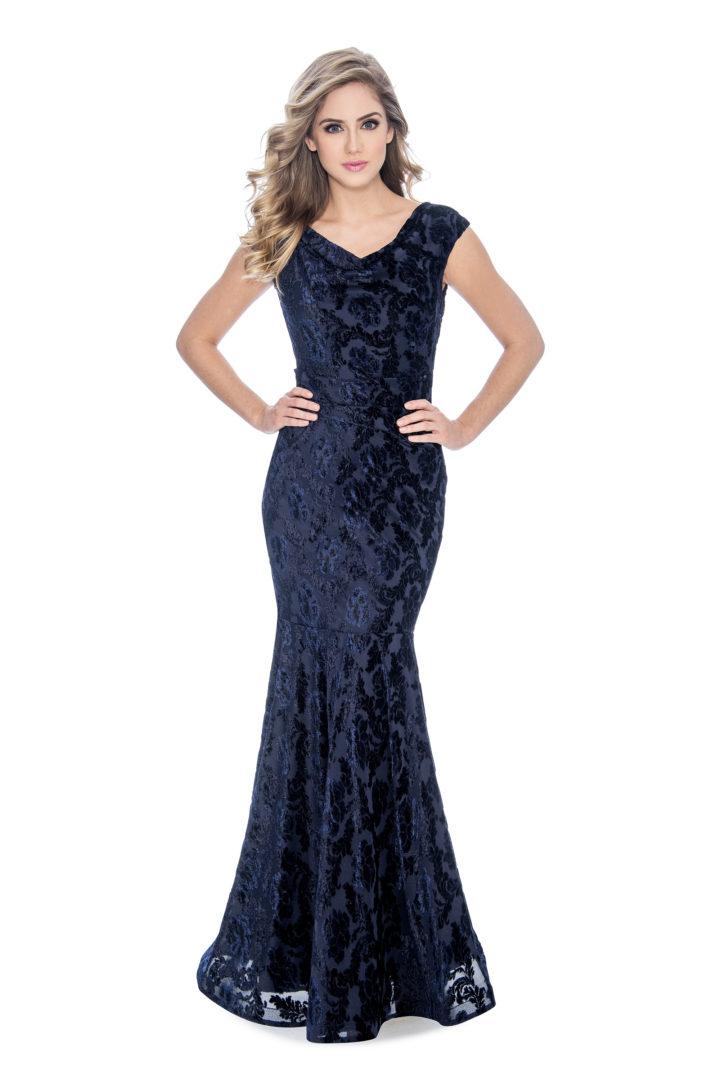 Cowl neck, velvet burn out, long dress