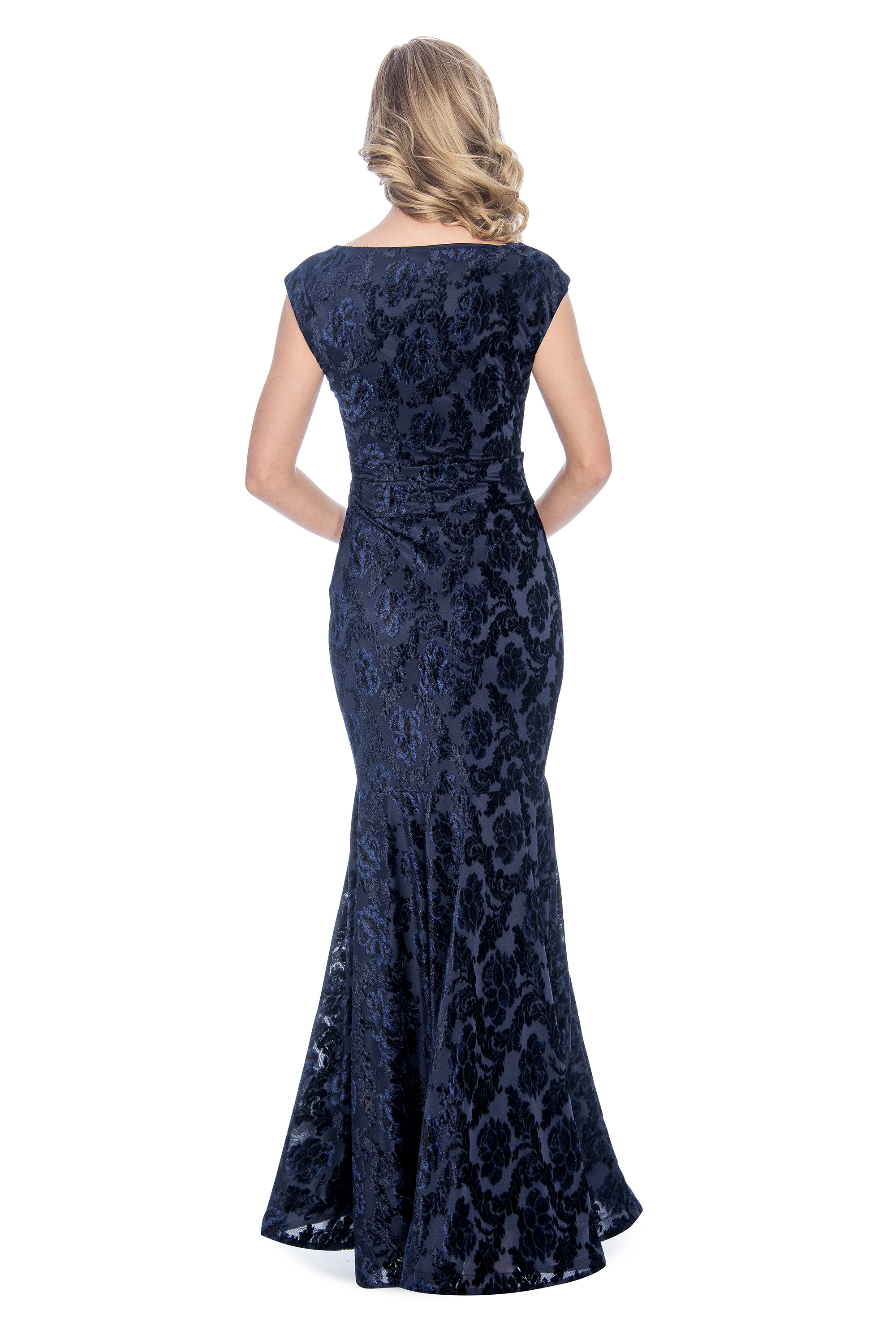 Cowl neck, velvet burn out, long dress