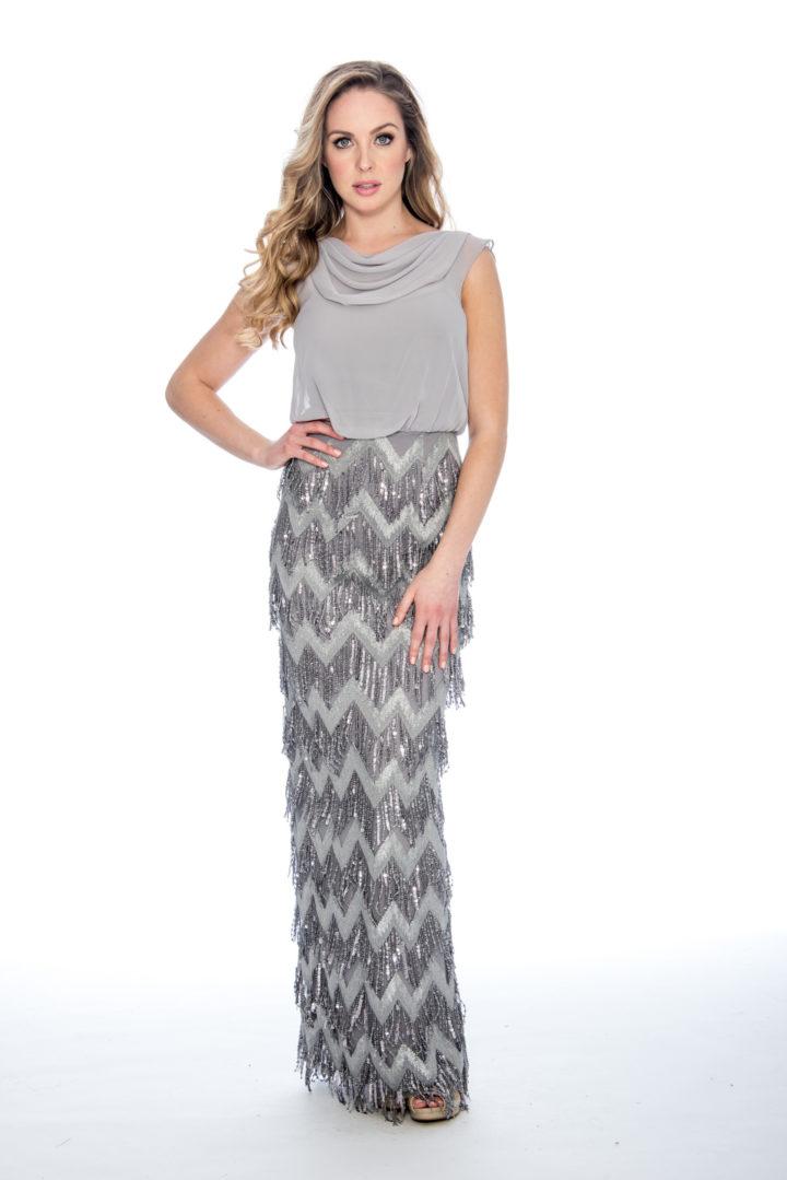 Bloussant top, tassel skirt, long dress