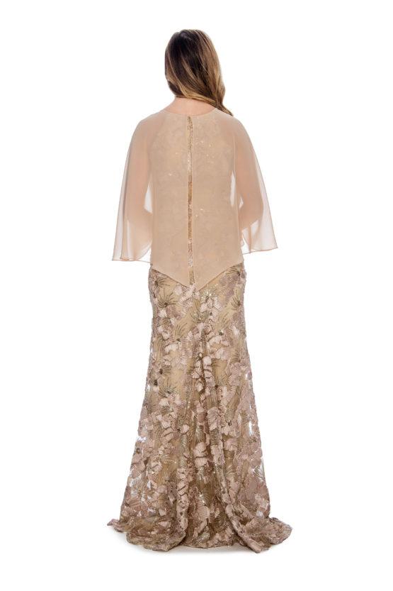 Cape overlay, soutache, long dress
