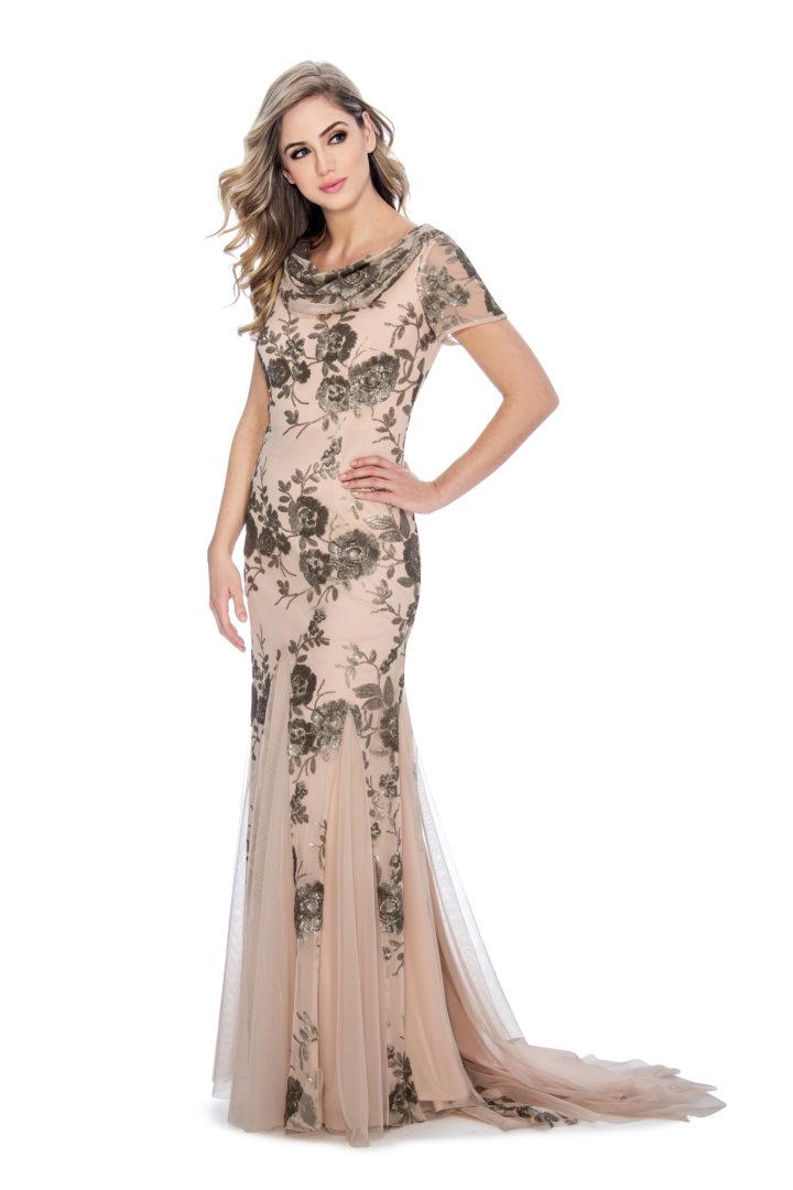 Cowl neck, sequin, long dress