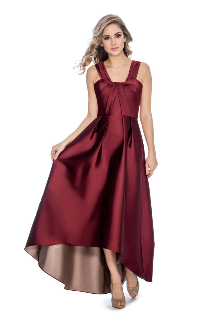 Pleated top, high low dress