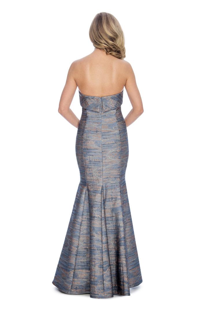 Strapless, brocade print, long dress