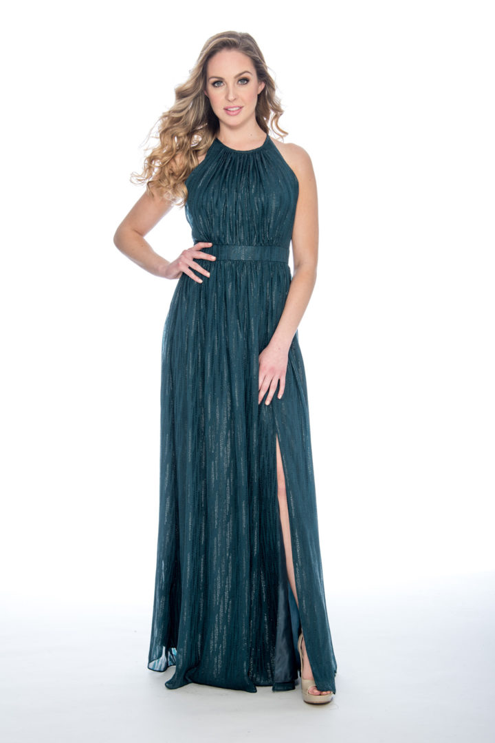 high neck, chiffon print, long dress