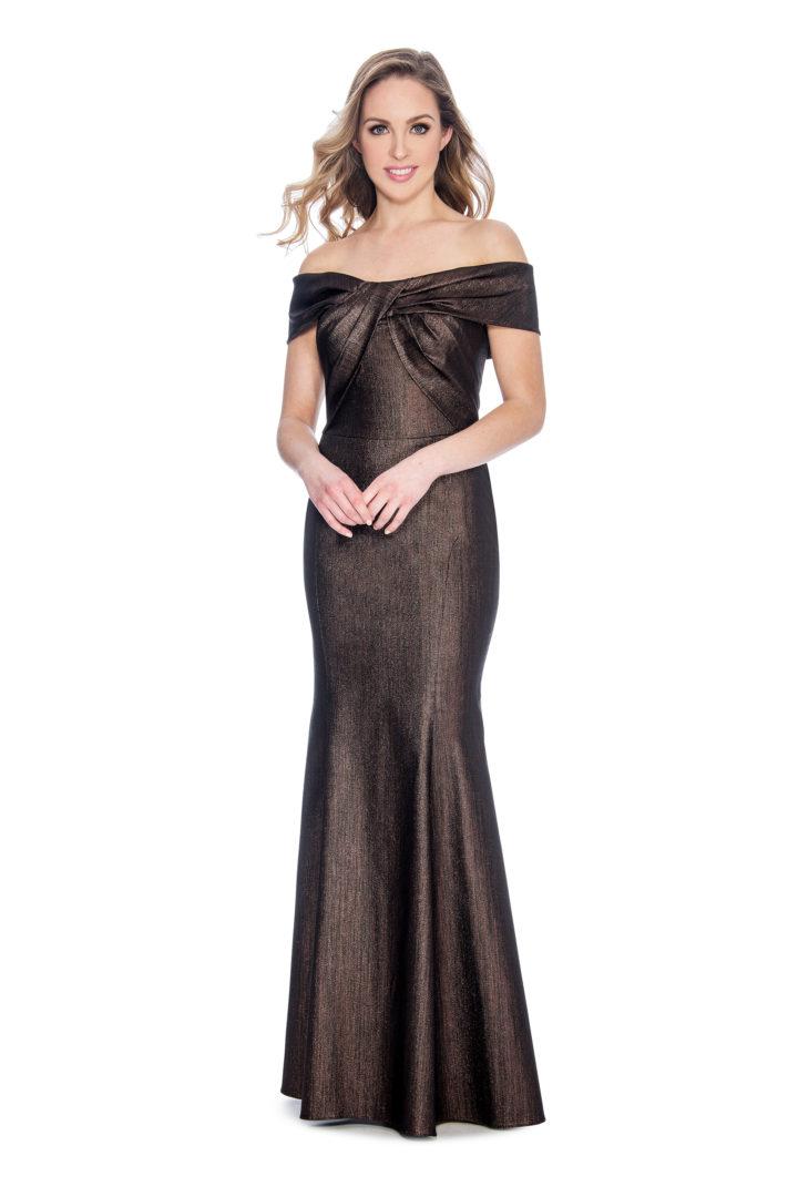 Off the shoulder, long dress