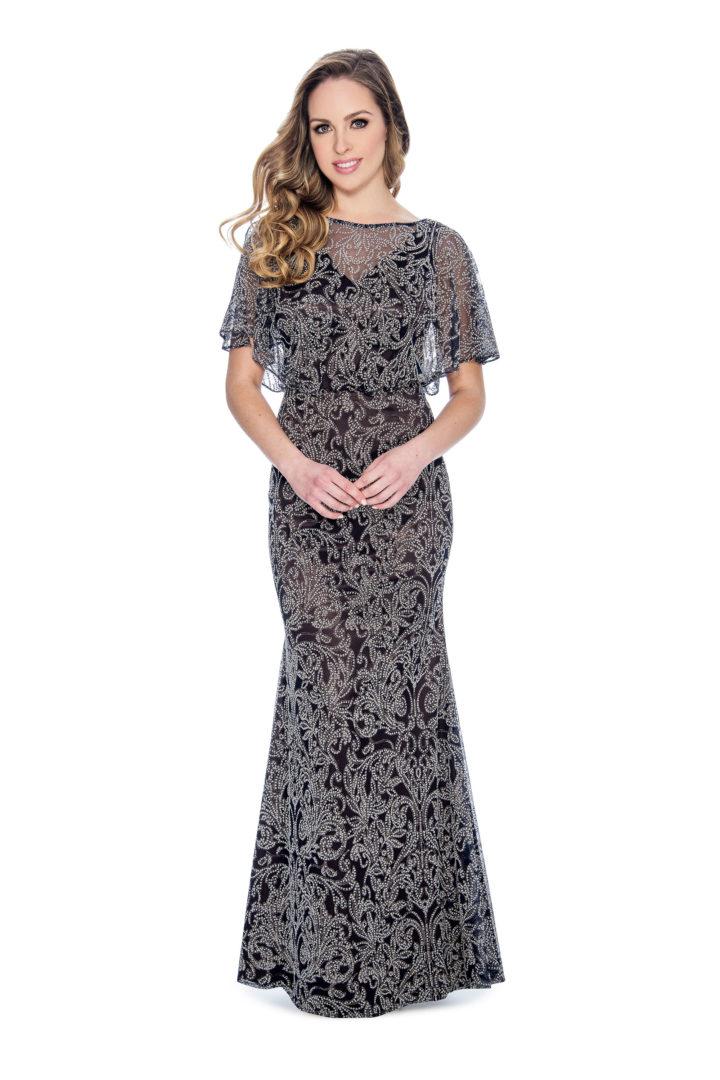 flutter sleeve, caviar beading, long dress