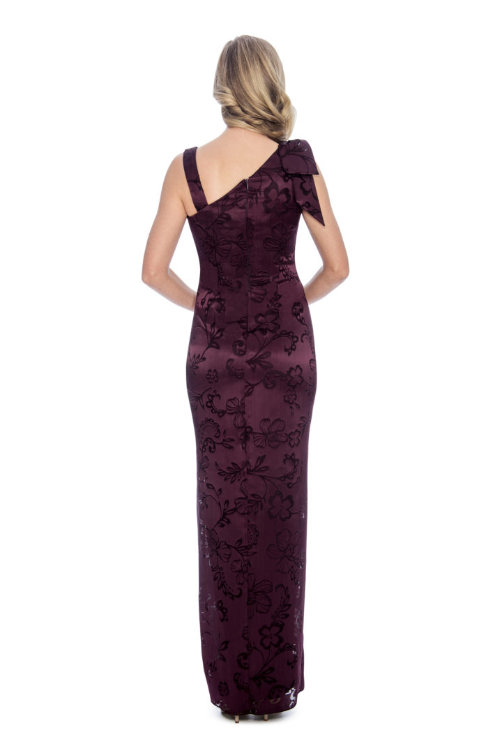 print, bow detail, long dress