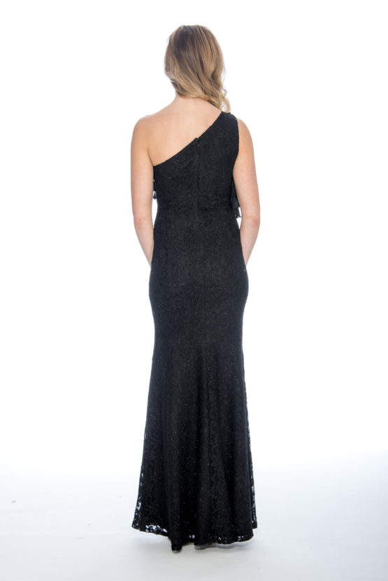 One shoulder, lace, ruffle, long dress