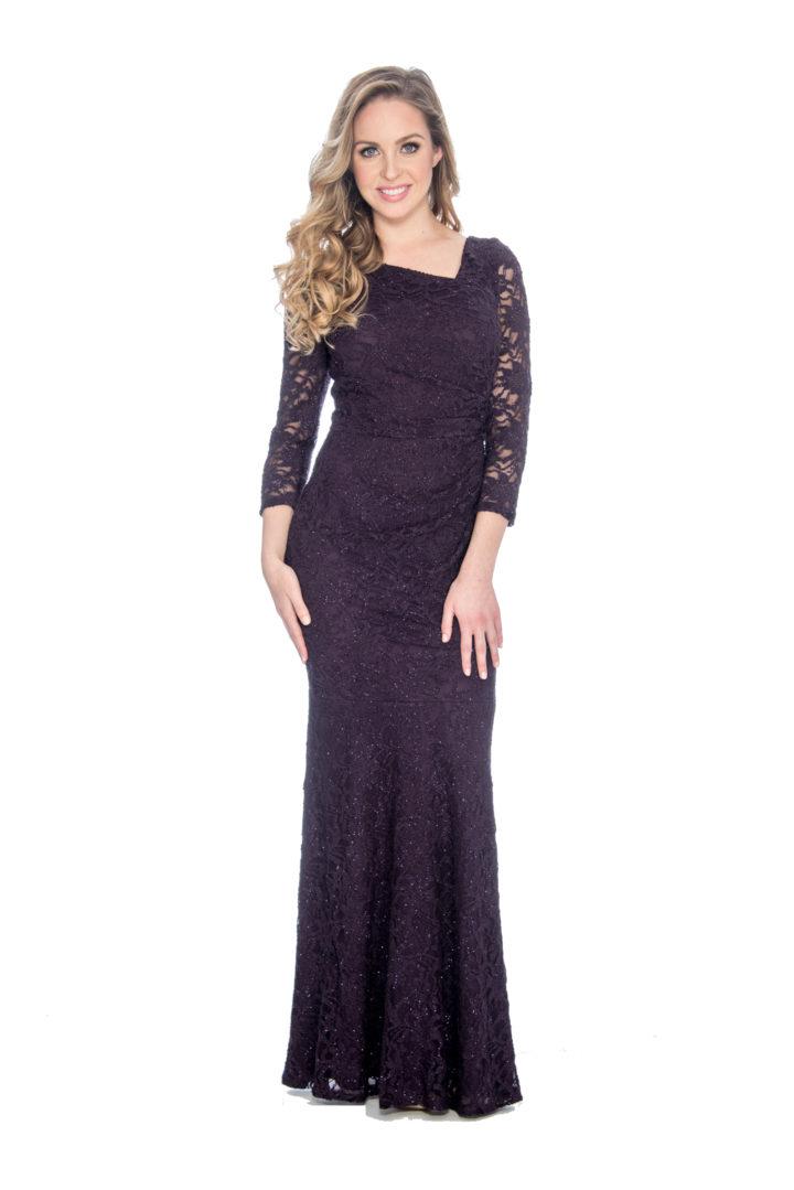 Asymmetrical neckline , long dress