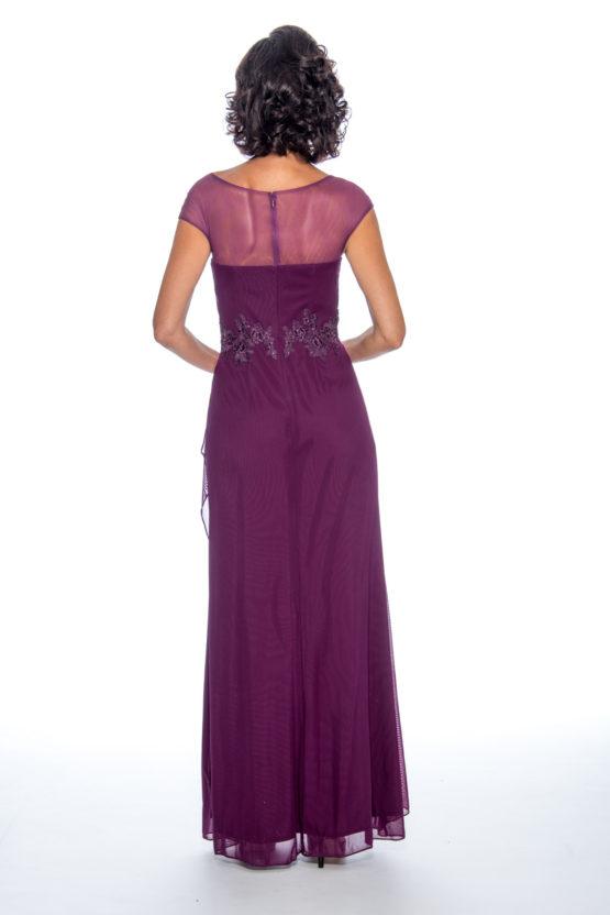 Applique top, drape skirt, long dress