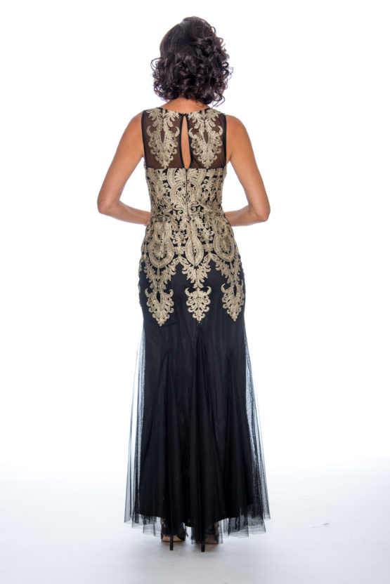 Appliqué, godet, long dress