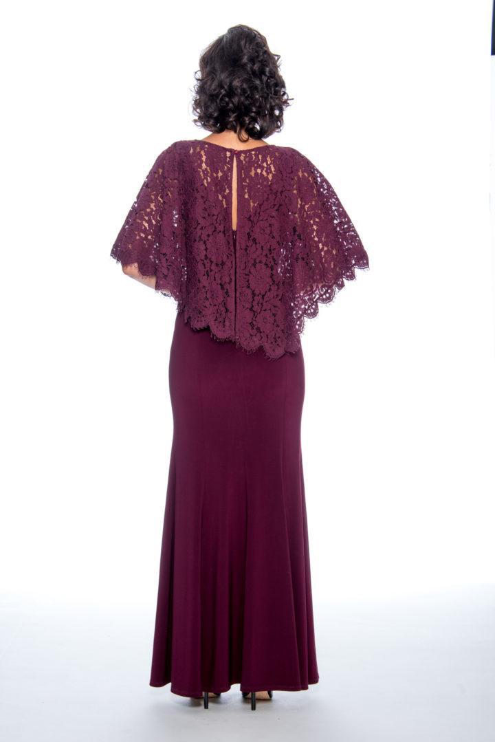 Lace cape, mermaid, long dress
