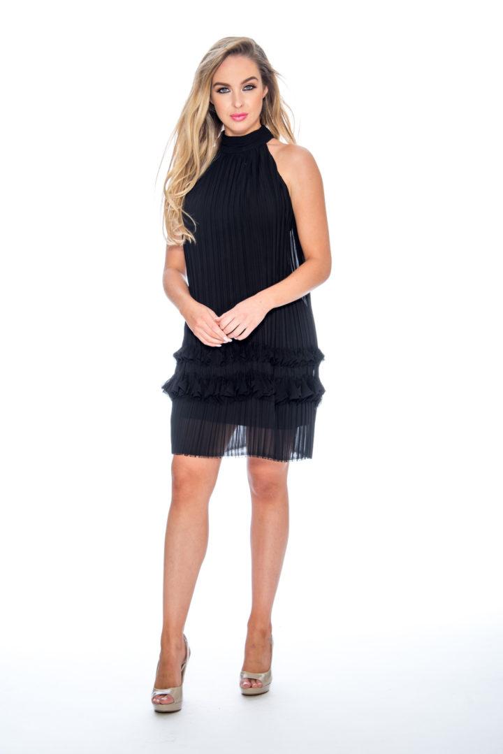 High neck, pleated, short dress