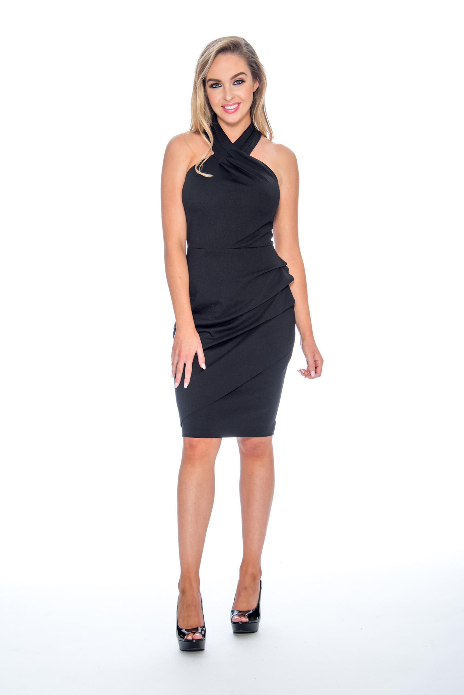 High neck, pleat detail, short dress