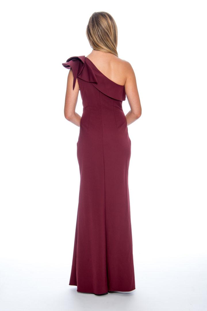 One shoulder, ruffle, long dress
