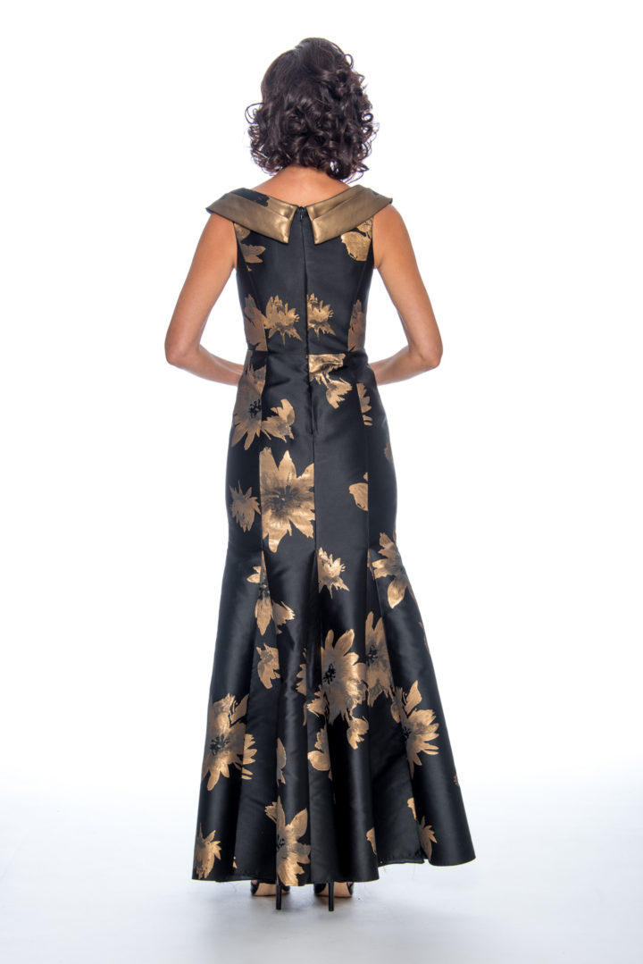 Shawl color, printed, long dress