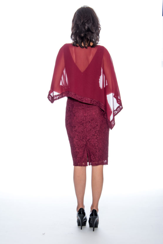 Cape, lace, short dress
